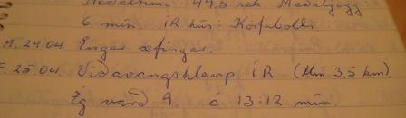 Úr hlaupadagbókinni fimmtudaginn 25. apríl 1974.