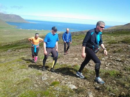 Á leið upp í Naustvíkurskarð. Trékyllisvíkin í sólbaði í baksýn.