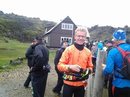 Í Landmannalaugum skömmu áður en hlaupið hófst. Birkir tók myndina.