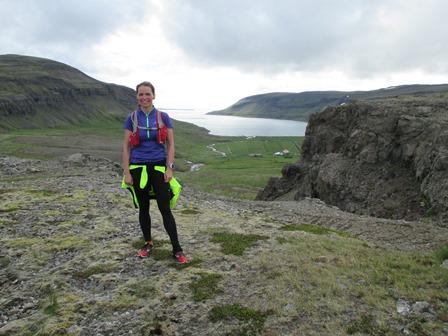 Sonja Sif á brúninni. Góður dagur og 41 km senn að baki.