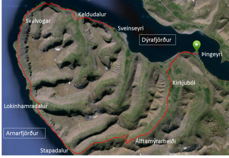 Vesturgatan eins og hún leggur sig (45 km). (Ef smellt er á myndina birtist eilítið stærri mynd).
