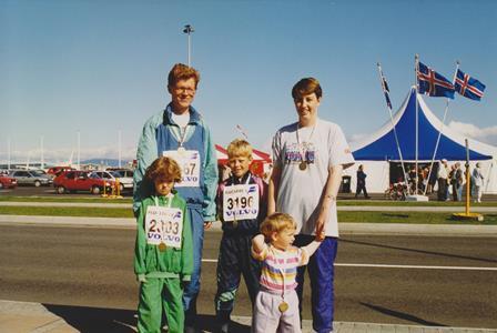 Öll fjölskyldan eftir Reykjavíkurmaraþon 1994.