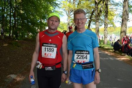 Við Gunnar komnir úr sporvagninum og við öllu búnir. (Ljósm. MarathonPhotos.com).